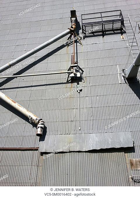 A concrete silo in rural Fairfield, Washington, USA