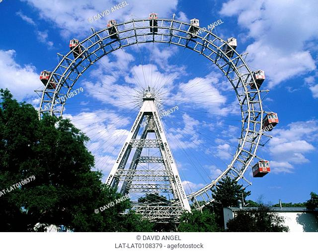 The Riesenrad,a giant Ferris Wheel at the entrance to Prater Park