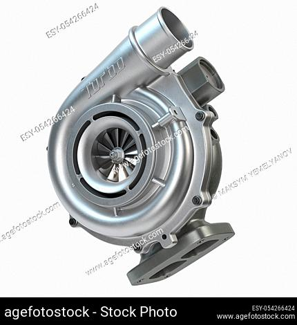 Car turbocharger isolated on white. Turbo engine and power concept. 3d illustration