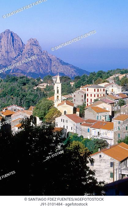Evisa village surrounded by chestnuts (Elevation 800 mts.). Northwestern Corsica Island, France