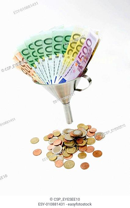 Banknotes and Coins with funnel