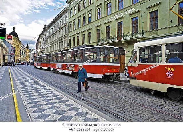 Prague, tram Street Na PoŠ. íÄ. í, námÄ›stí Republiky, Czech Republic, Boenia Central Europe