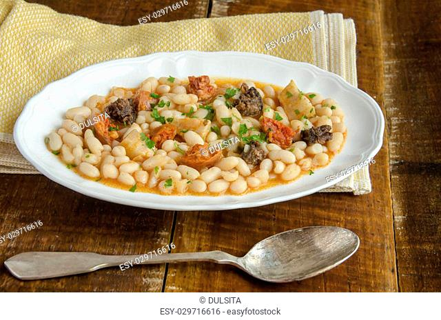 Beans with chorizo and morcilla