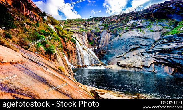 A panorama view of the Ezaro Waterfalls in western Galicia in northern Spain
