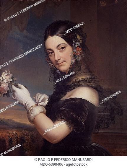 Portrait of singer Elena Viganò (Ritratto della cantante Elena Viganò), by Elena Godefroid, 1841, 19th Century, oil on canvas, 77 x 58 cm