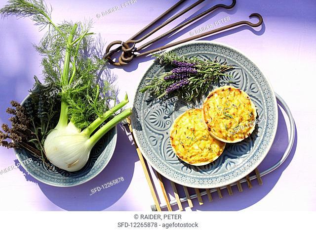 Fennel quiche with lavender blossoms