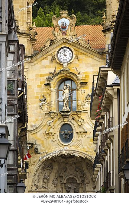 Santa María del Coro Basilica church, Baroque style, Old Town, San Sebastián, Donostia, Guipuzcoa, Basque Country, Spain Europe