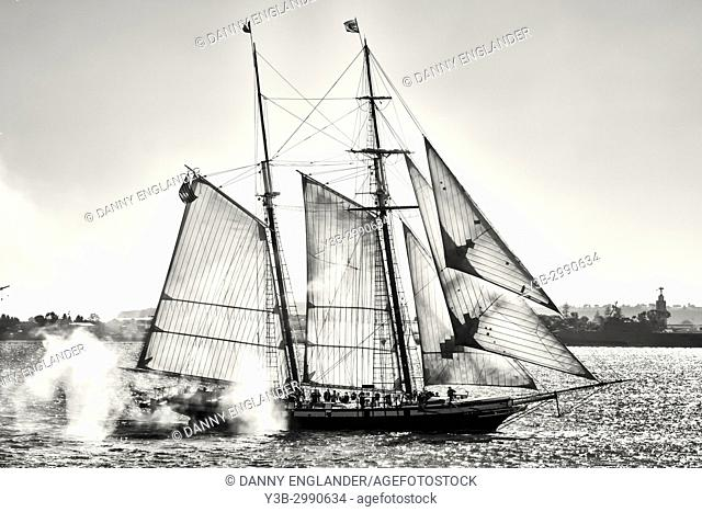 The sailing schooner Californian fires off its canons in San Diego Bay