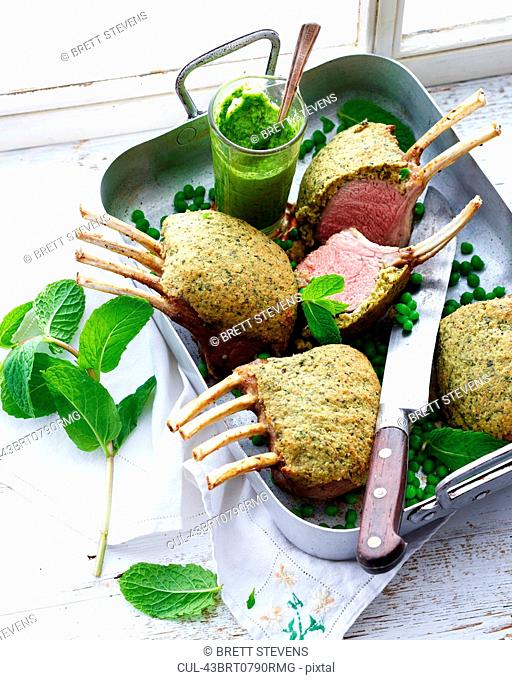 Dish of crusted lamb chops