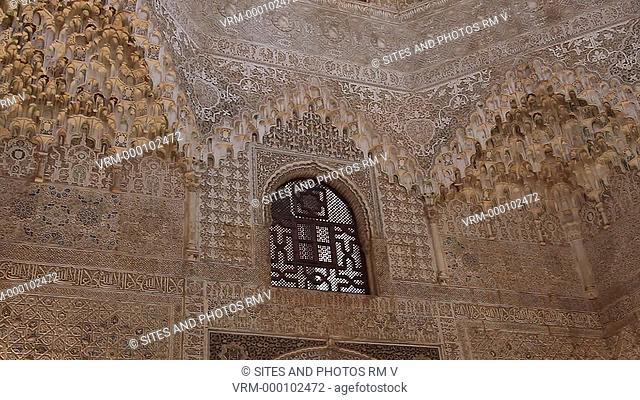 Nasrid Palaces - Interior, PAN on arabesque decoration of the Hall of the Two Sisters at the Courtyard of the Lions. Alhambra was declared World Heritage Site...