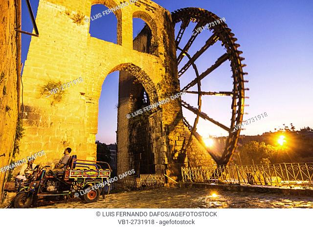 Al Mohammediyya Noria, the largest of the Hama water wheels. Hama, Syria