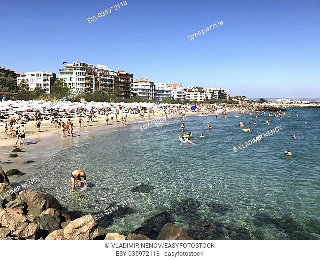 People enjoying their time at Pomorie Beach, Bulgaria