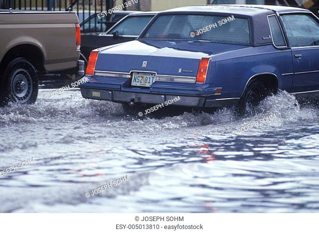 Cars Driving Through Flooded Street, Miami, Florida