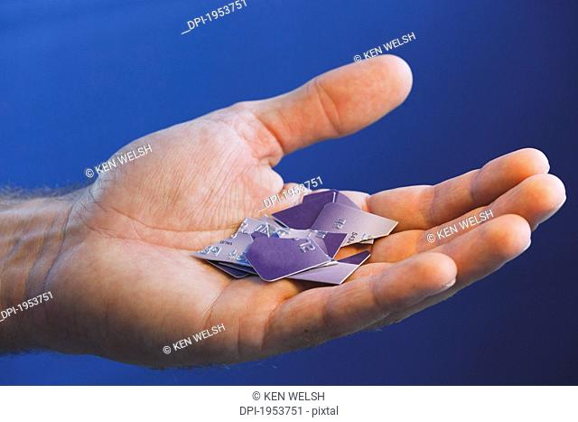 Pieces Of Cut Up Credit Card Resting In A Man's Hand, Torremolinos Malaga Andalusia Spain