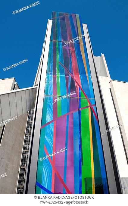 Multi-coloured glass stele, Stained glass panel, Liverpool Metropolitan Cathedral, Liverpool, UK
