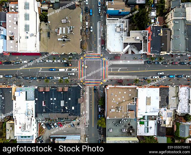 Street crossing with rainbow crosswalk in Castro District in San Francisco in California USA. Horizontal aerial photo