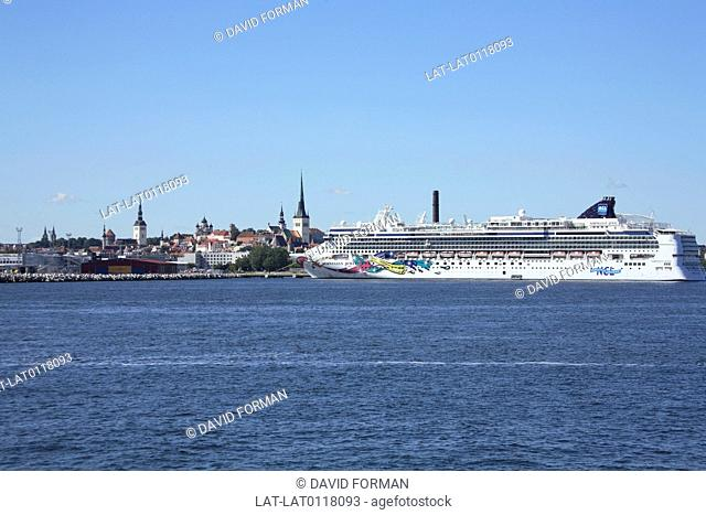 Tallinn is a large Baltic Sea port and on the cruise boat route as a popular destination. It is a UNESCO World Heritage site