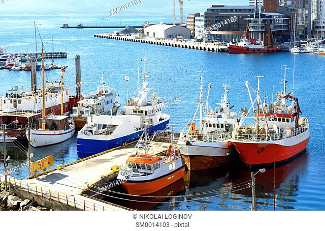 Tromso ships at city port background hd