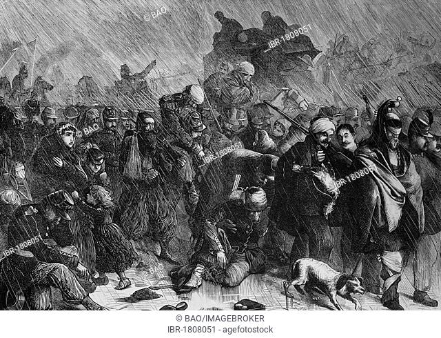 Retreat of troops of the French Loire army after the battle of Orleans, historical illustration, Illustrierte Kriegschronik 1870 - 1871 illustrated chronicle of...