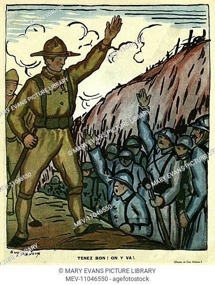 Cartoon, Hold On, Let's Go. French soldiers in a trench and newly arrived American troops greet each other, ready to work together as Allies