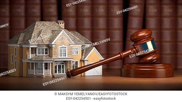 House With Gavel And Law Books Real Estate Auction Concept 3d
