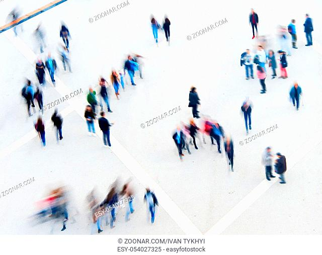 Motion blur of crowd people. View from above