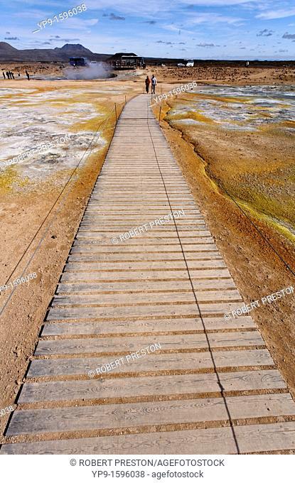 Wooden walkway across the sulphur deposits at Hverir, Iceland