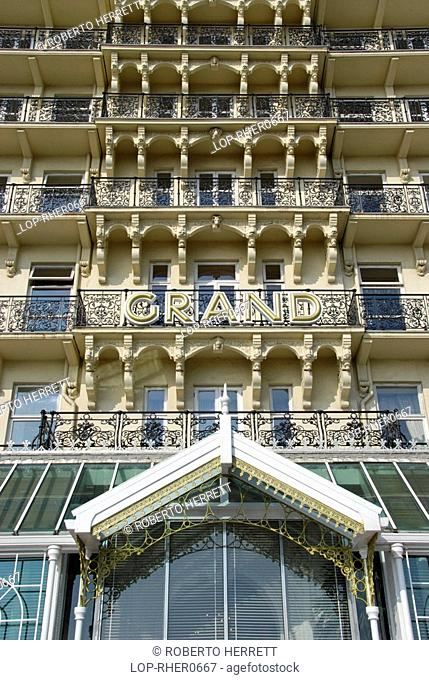 England, East Sussex, Brighton, The front of the Grand Hotel on the sea front at Brighton