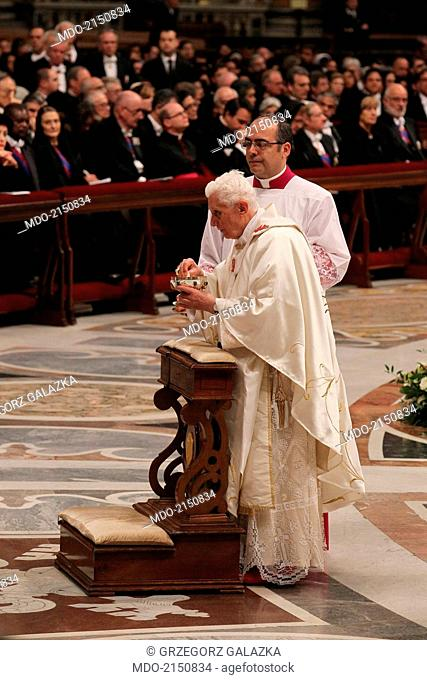 Pope Benedict XVI (Joseph Aloisius Ratzinger) celebrating the Holy Mass for the Feast of Our Lady of Guadalupe and the bicentenary of the Independence of...