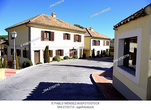 Entry of a residential area in Villaviciosa de Odon, Madrid, Spain