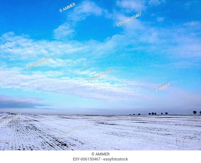Winter sky over snowy fields, Drahany Highlands, Southern Moravia, Czech Republic, Central Europe