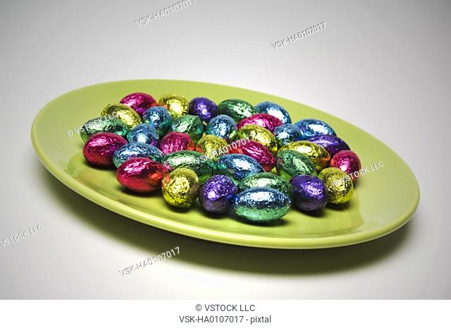 Chocolate Easter eggs on plate
