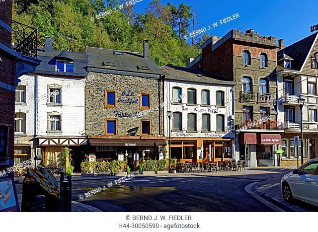Street scene, house fronts, La Smelling Roche-en-Ardenne Belgium