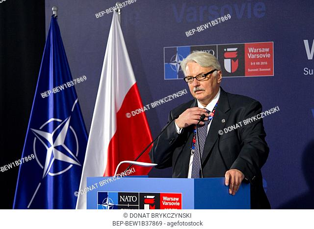 The chief of Polish diplomacy Witold Waszczykowski at the press conference organized shortly before the NATO summit, National Stadium, Warsaw on July 8th, 2016