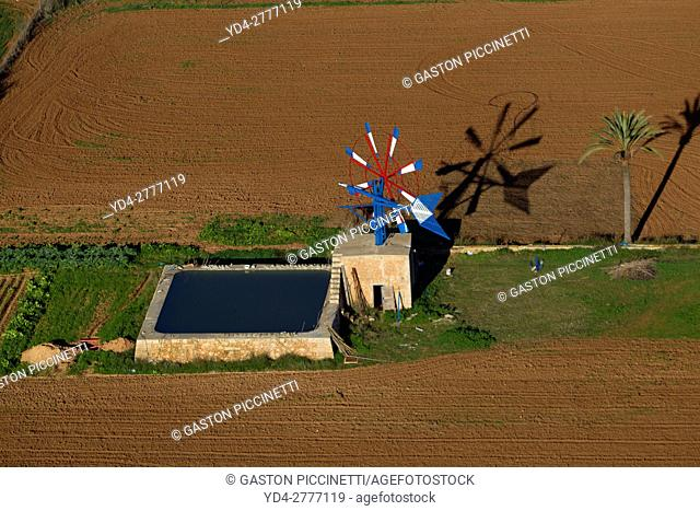 Aerial View of a Windmill of Mallorca, Balearic Island, Spain