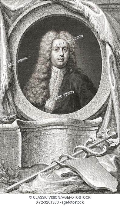 """Sir William Wyndham, c. 1688 â. """" 1740, English Tory statesman. Secretary at War. Chancellor of the Exchequer. From the 1813 edition of The Heads of Illustrious..."""