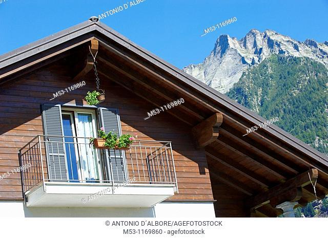 Detail of a modern alpine home  premia  verbano-cusio-ossola province  piemonte  italy