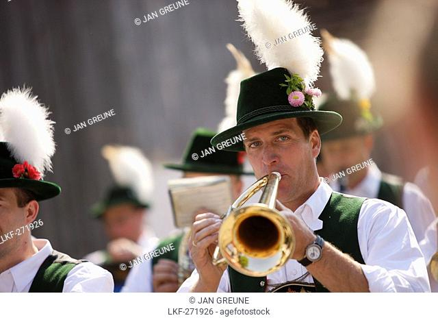 Brass band, Midsummer Festival, Munsing, Bavaria, Germany