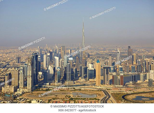 Aerial view of the city with the Burj Khalifa seen from the helicopter, Dubai, United Arab Emirates