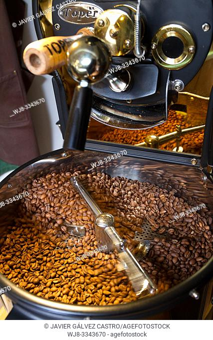 Freshly roasted coffee beans cooling