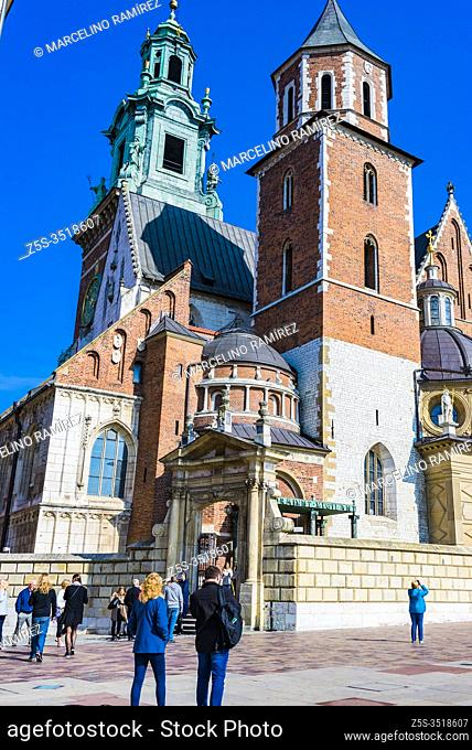 The Wawel Castle. Wawel Cathedral, the Silver Bell Tower with a coned roof. Cracow, Kraków County, Lesser Poland Voivodeship, Poland, Europe