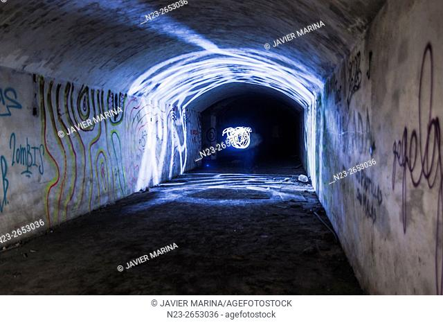 Tunnels dug into the rock, abandoned artillery barracks, Ribarroja, Valencia, Spain