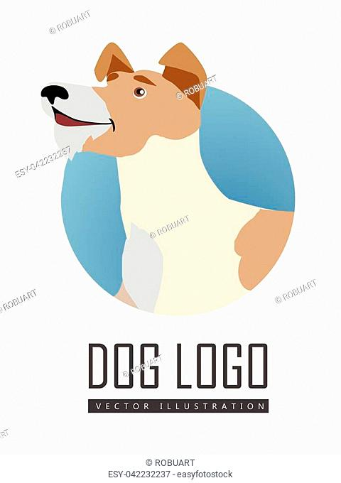 Dog vector logo in flat style. Fox terrier bust in the blue circle illustration for pet shop, breed club logotype, app icon, animal infogpaphics elements