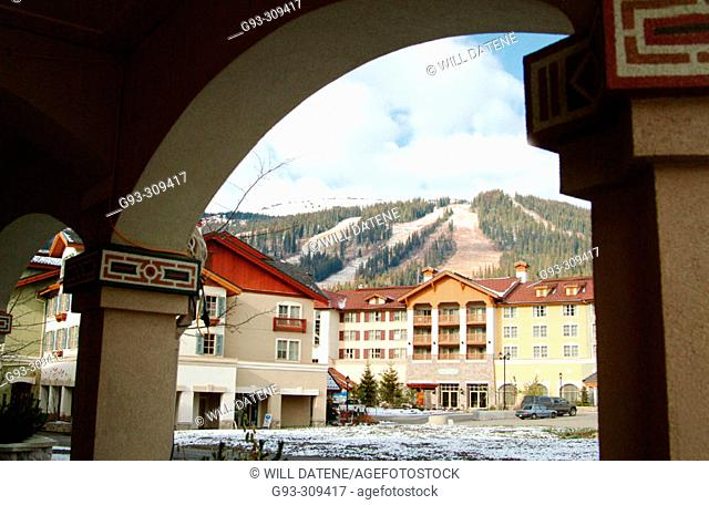 View of ski hill from Sun Peaks resort village in late fall. British Columbia, Canada