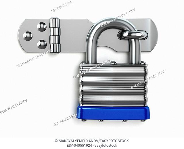 Padlock hanging on lock hinge. Security concept. 3d