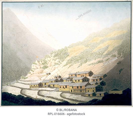 The village of Niti, Kumaon U.P.. 4 June 1812. Watercolour. Originally published/produced in 1812. Illustrated by Hyder Young Hearsey