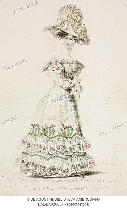 Woman wearing a white dress decorated with floral motifs and large hat adorned with feathers, plate 32, French Fashions, Il Corriere delle Dame, 1827