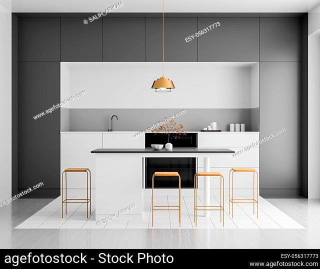 Modern bright kitchen interior. Minimalistic kitchen design with bar and stools. 3D illustration