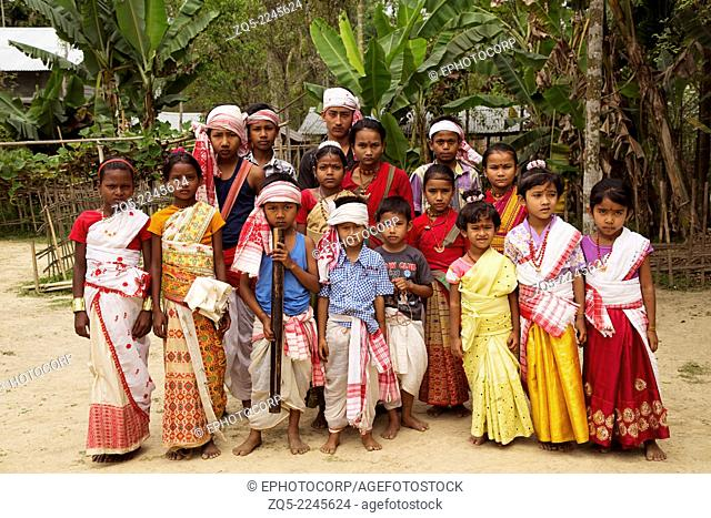 Children in traditional dress for Bihu dance, Assam