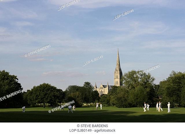 England, Wiltshire, Salisbury, A cricket match being played on a pitch close to Salisbury Cathedral